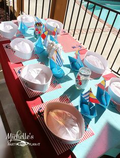 Table at a Nautical Mickey Mouse Party #nautical #mickeymouse