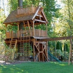 Tree House With Swing Set Backyard Patio