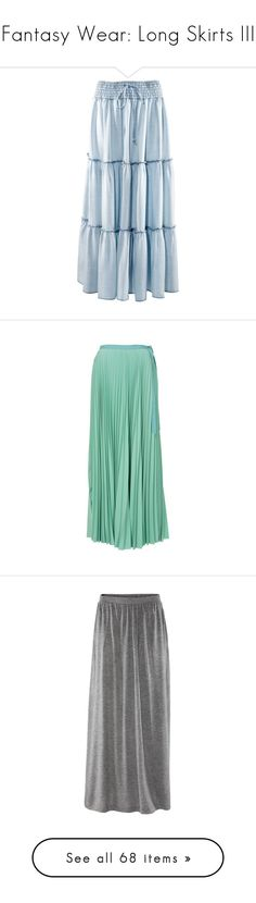"""Fantasy Wear: Long Skirts III"" by savagedamsel ❤ liked on Polyvore featuring skirts, bottoms, saias, women, circle skirts, drawstring skirt, denim skirt, flared denim skirt, blue flared skirt and maxi skirts"