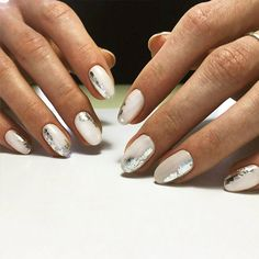 18 Beautiful White Nails Designs for Every Day ★ Foil Nail Designs for White Nails Picture 3 ★ See more: http://glaminati.com/white-nails-designs/ #whitenails #whitenailsdesigns