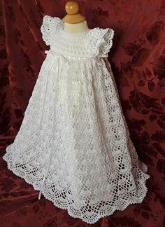 Blanco bautizo / bendición vestido con el Slip - 3 a 6 meses - listo para enviar - 13129