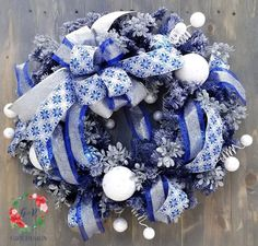 of July Sale Blue Christmas Wreath, Elegant Holiday Wreath, Deluxe Winter Flocked Blue Wreath, Blue Silver Flocked Christmas Mantel Wrea Christmas Door Decorations, Christmas Porch, Christmas Bows, Christmas Mantels, After Christmas, Silver Christmas, Christmas Centerpieces, Holiday Wreaths, Handmade Christmas