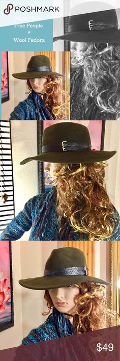 Free People Wool Fedora Very gently loved and in great condition this heathery olive green Free People Fedora has a  woven double belted band. Perfect for fall and winter! One size fits all and best for a medium to large fit.🎉💞 Free People Accessories Hats