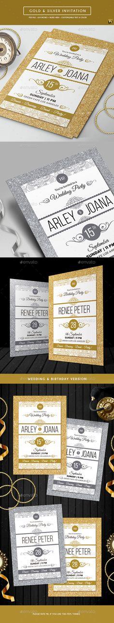 Gold & Silver Invitation Template PSD. Download here: http://graphicriver.net/item/gold-silver-invitation/16901972?ref=ksioks