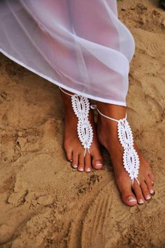Bridal wedding shoes White crochet barefoot sandals, sandal wedding foot jewelry, Sexy, Lolit
