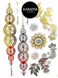 Floral Henna Temporary Tattoo Gold Silver Festival Flash Tattoos Gift Present Birthday Anniversary Metallic Tattoo Jewelry Accessories
