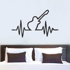 Guitar Beat Bedroom Wall Decal Guitar Beat by TrendyWallDesigns Guitar Bedroom, Music Bedroom, Guitar Wall Art, Music Wall Art, Wall Decals For Bedroom, Bedroom Decor, Wall Decor, Bedroom Ideas, Wall Drawing