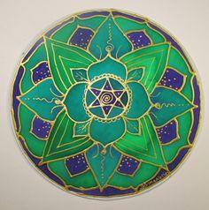 Heart Chakra Mandala lotus art chakra art by HeavenOnEarthSilks, $32.00