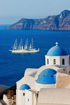 Did this - took the Club Med 1 and it was docked just as this -  Santorini, Greece - wonderful memories of a fantastic trip