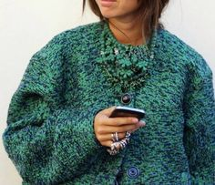 Emerald green tweed quote and jewelry to match!