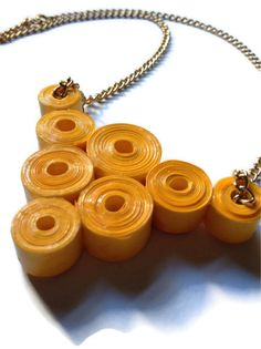 Yellow Chunky Necklace  #Statement #Upcycled #Yellow #Gold #PaperBeads #PurpleSmoothie, $28.00 ---------------- www.purplesmoothie.etsy.com