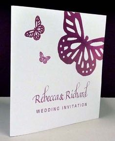 INVITATIONS - 14.5cm x 14.5cm Square personalised butterfly wedding stationery  http://northyorkshireweddings.co.uk