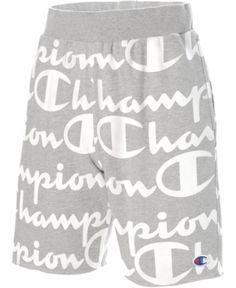 Champion Men's C-Life Logo-Print Shorts - Oxford Grey Champion Shorts Mens, Champion Wear, Short Outfits, Cute Outfits, Champion Clothing, Life Logo, Man Logo, Dress With Sneakers, Burberry Men