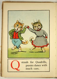 """Louis Wain - Illustration from """"A cat alphabet and picture book for little folk"""", Dodge Publishing Company, New York, ca. 1910s"""
