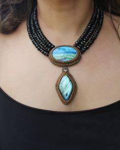 Labradorite & 3 Strand Faceted Genuine Smoky Quartz Necklace