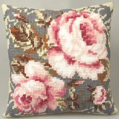 Collection dArt Cross Stitch Cushion Kit -  Ancient Rose Preview