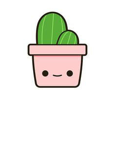 Easy Drawings Cactus in cute pot Sticker - Cactus in an adorable pot! Cute Easy Drawings, Cute Cartoon Drawings, Cute Kawaii Drawings, Cute Animal Drawings, Doodle Drawings, Doodle Art, Stickers Cool, Cactus Stickers, Tumblr Stickers