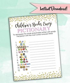 The original Baby Shower Emoji Game! :) This is a super fun, printable and interactive game for your baby shower. Print as many as you need right from home or your nearest print shop! *ANSWER SHEET IS INCLUDED* ** THIS LISTING IS FOR A DIGITAL FILE ONLY - NO PHYSICAL PRODUCTS WILL BE