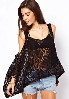Black Flowers Hollow-out Round Neck Acrylic T-Shirt