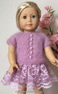 American Girl Doll Tuileries Garden Sweater - http://www.abc-knitting-patterns.com/1467.html