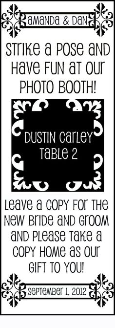 An insert for a frame to fit the photo booth strips doubles as a place card!