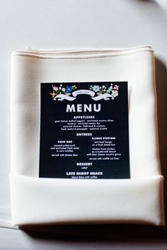 Black menu cards from Minted // photo by Sara + Rocky Photography