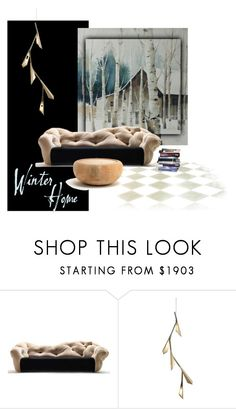 """Winter Home"" by fl4u ❤ liked on Polyvore featuring interior, interiors, interior design, home, home decor, interior decorating, Meritalia, Riva 1920, Hubbardton Forge and winterhome"