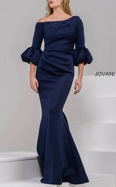 Jovani 39739 Fully lined scuba gown with three quarter dramatic sleeves and a ruched midsection features a concealed back zipper Mother Of The Bride Dresses Long, Brides Mom Dress, Trumpet Gown, Trumpet Skirt, Elegant Dresses For Women, Scuba Dress, Gowns Of Elegance, Evening Gowns, Evening Dresses For Weddings