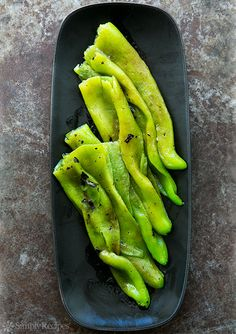Roasted Green Chiles in a Light Vinaigrette Recipe | Simply Recipes