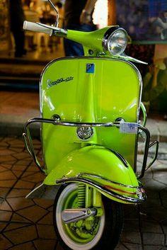 Vespa for my bucket list! It& the right color. Piaggio Vespa, Scooters Vespa, Motos Vespa, Moped Scooter, Motor Scooters, Retro Scooter, Vintage Vespa, Vintage Cars, Neon Green