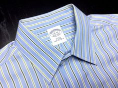 BROOKS BROTHERS Men's 15 32 Slim Fit Blue Green White Striped Non Iron Long Sleeve Dress Shirt #BrooksBrothers | Shop Menswear, Men's Apparel, Men's Clothes at designerclothingfans.com