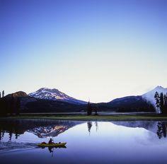 Kayak fisherman during sunrise at Sparks Lake - Bend OR | Hasselblad 500cm - Fuji Velvia 100