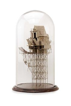 Daniel Agdag: The Birdhouse, cardboard, trace paper mounted on wooden base with hand-blown glass dome