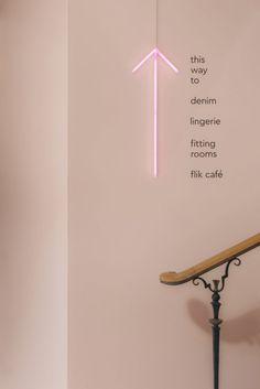 store interior Gina Tricot Concept Store Stockholm by Note Design Studio Store Signage, Retail Signage, Wayfinding Signage, Boutique Interior, Interior Design Studio, Note Design Studio, Notes Design, Font Design, Signage Design