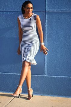 Discover this look wearing Midi Ruffle DIY Dresses, Alexander Wang Heels tagged http-wwwchictopiacom-beautejadore - DIY Nautical Dress by beautejadore styled for DIY, Brunch in the Summer Cute Dresses, Beautiful Dresses, Casual Dresses, Summer Dresses, Nautical Dress, Nautical Fashion, Nautical Stripes, Pencil Dress Outfit, Dress Outfits