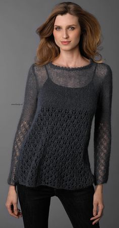 Thursday, August 2016 Katia Silk-Mohair sweater - www. Lace Knitting, Knitting Stitches, Knitting Designs, Crochet Yarn, Knitting Patterns, Mohair Sweater, Cardigans For Women, Knitwear, Crochet Lace Tops
