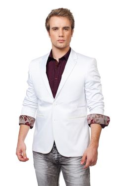 http://www.cityblis.com/item/6138   FITTED SATIN BLAZER - $255 by RNT23 Jeans   * Structured satin * Notch lapel * Single-breasted * Two-button front * 1 chest pockets * Double side vented back * Fully lined * Two angled front pockets