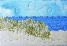 Fabric Postcard Coastal Art Mini Quilt Beach by SewUpscale on Etsy, $14.00