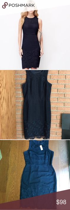 """💄ANN TAYLOR TALL💄CROCHET SHEATH DRESS💄 NWT 10 Tall Crochet and floral adds fresh feminine look with this stunner. This is a navy sheath dress brand-new with tag made to fit a person with longer legs. It states tall on the label but I think that even if you're slightly taller than average this is the dress for you. Back hidden zipper. Back split still sewn together. Fully lined 100% polyester. Measurements taken flat bust 19"""" waist 16"""" hips 19 1/2"""" length at the bottom of the lace 41""""💄ANN…"""
