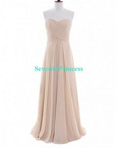 Champagne Bridesmaid Dress, A-line Sweetheart Long Chiffon Bridesmaid Dress 2014