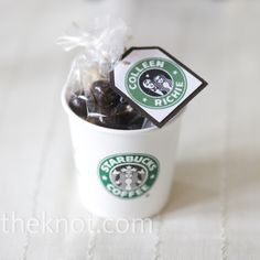Coffee Inspired Favors The local Starbucks provided small coffee cups, which were then filled with chocolate covered espresso beans and mini biscotti. Colleen's maid of honor designed custom tags with a Starbucks-inspired logo. Coffee Favors, Coffee Wedding Favors, Chocolate Wedding Favors, Wedding Gifts For Guests, Starbucks Wedding, Starbucks Birthday, Starbucks Coffee, Coffee Coffee, Mod Wedding