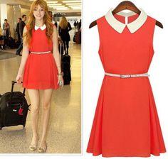 Cute Peter Pan Collar Red Dress for Girls | martofchina.com
