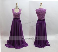 2015 New Style Purple Lace Bodice Long Chiffon Prom Dress/Evening Dress/Long Purple Lace Dress/Celebrity Dress/Custom Made/0339