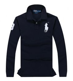 POLO RALPH LAUREN shirt with long sleeves blue with white logo