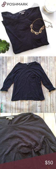 VINCE Navy Blue Cuffed Sleeve Pocket Tee Perfect weekend wear formfall and winter! Navy Blue, pocket over left breast. Cuffed sleeves. Super soft. Lightweight cotton. Great pre-loved condition!   🚫no trades 🚫no modeling ✅dog friendly/🚭smoke free home ✅reasonable offers ✅bundle & save! Vince Tops Tees - Long Sleeve