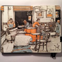 Mostly copics sketch in a new moleskine sketchbook. Turns out it's my favorite paper for them yet. They bleed through the page on the page beneath it though. #sketch #sketchbook #moleskine #urbansketch #usk #cafe #cafesketch #starbucks #fabercastell #pittartistpen #copics #winsornewton #brushmarkers #people #drawing #instaart #скетч #скетчбук #молескин #маркеры #копики #урбанскетч #кафе #кафескетч #люди #рисунок #снатуры