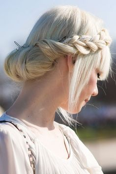 Accessorized crown braid. #hair #crown #braid