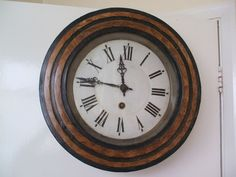 Victorian Circular Oak Inlaid Timepiece Wall Clock With Enamelled Dial 15 D