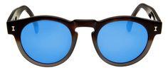 Óculos Illesteva Leonard Marrom Redondo - Lente Espelhada Azul