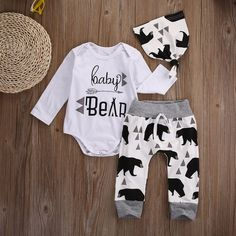 Baby Boy 3PC Bear Print Outfit with Onesie, Pants, and Hat